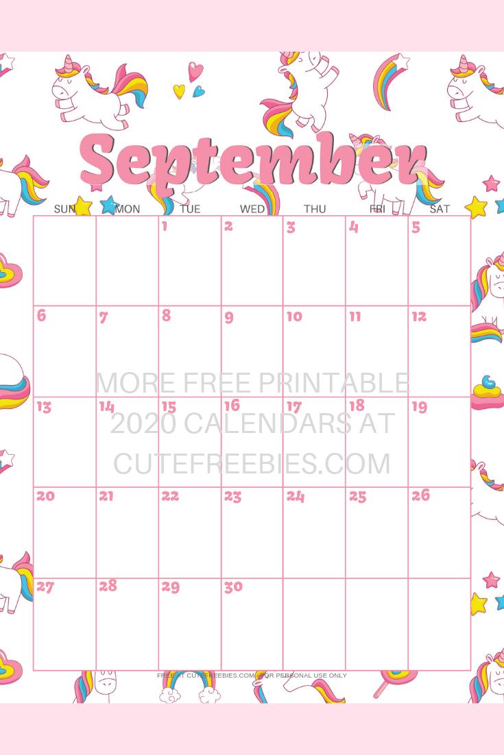 september-2020-calendar-unicorn - Cute Freebies For You