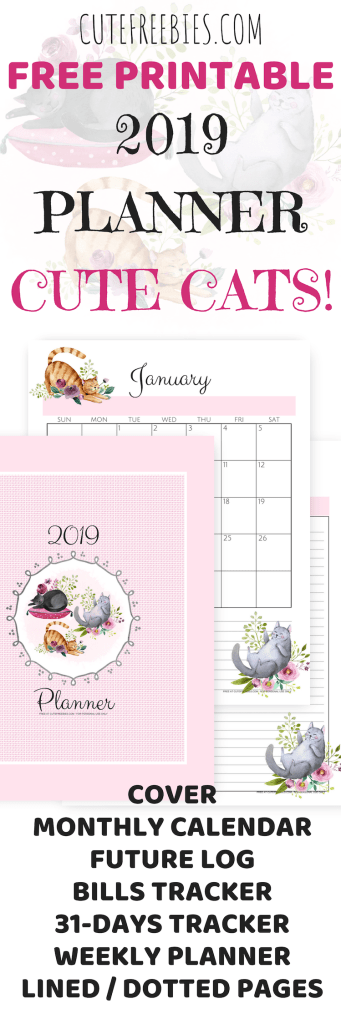 cute cats 2019 planner printable cute freebies for you
