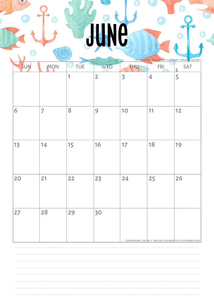 Free Printable 2021 Sea Themed Calendar + More Freebies ...