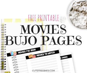 FREE Movies Bullet Journal Printable Pages! Bujo ideas for your movies tracker and movies to watch. Get your free download now! #bulletjournal #bujoideas #cutefreebies #bujoinspiration