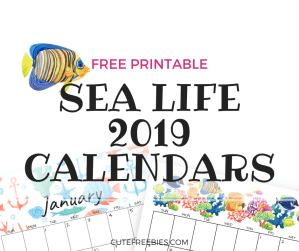 FREE 2019 Printable Sea Themed Calendar And Monthly Planners! under the sea themes and more. Get your free download now! #freeprintable #2019calendar #cutefreeebies