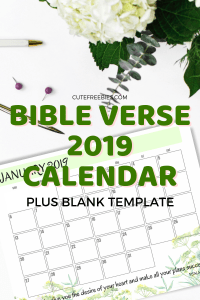 Bible Verse Calendar For 2019! Free printable 2019 calendar with Bible verses for your inspiration. Free download now! #freeprintable #cutefreebies #Bibleverseoftheday
