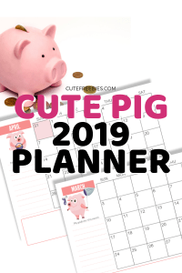 Free Printable 2019 Calendar With Cute Pigs! Our cute pig planner for 2019 is now free to download! #freeprintable #cutefreebies #2019