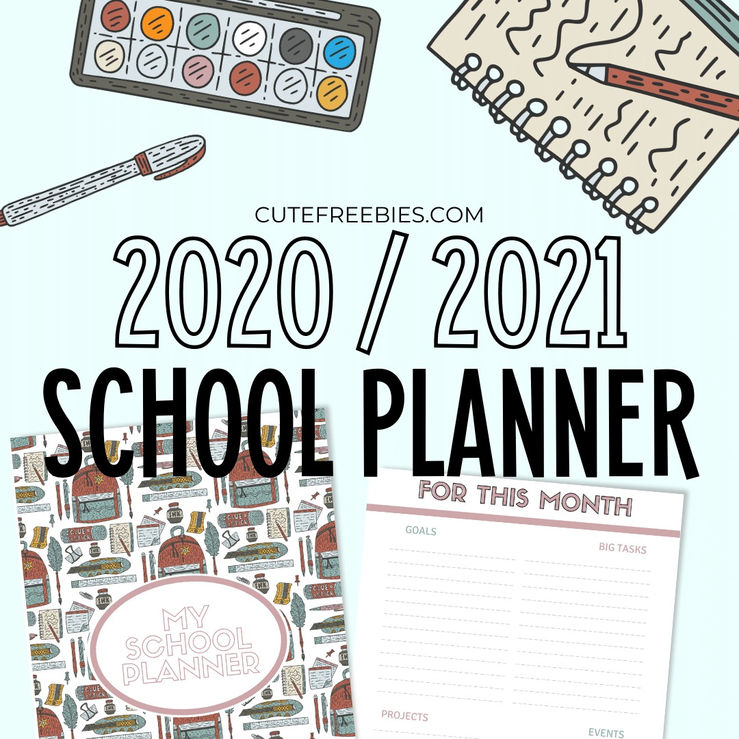 Free Printable School Planner For 2020 2021 Cute Freebies For You