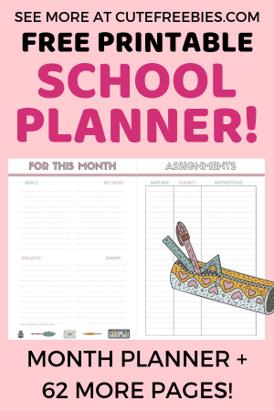 Free Planner Printables For 2019-2020! - Cute ... on college home printable, college paper printable, business planner printable, college student planners and organizers, college class schedule planner template,