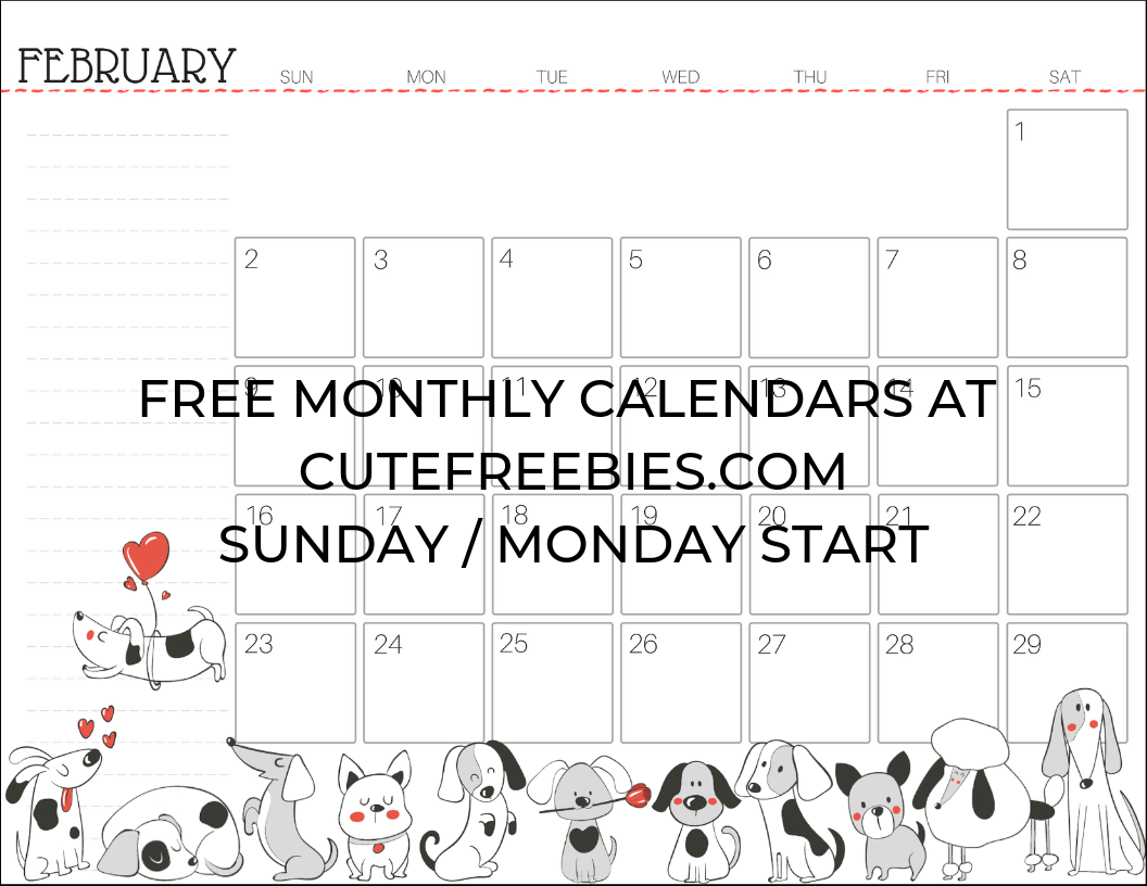 February 2020 Calendar With Dog February 2020 calendar printable CFdogs   Cute Freebies For You