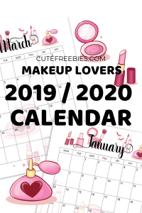 Free 2019 2020 calendar printable planner! Get your new makeup lovers calendar or bullet Journal printable and use for the whole year or as a monthly bujo theme. #freeprintable #bujomonthly #bulletjournal #bujoideas #cutefreebiesforyou #makeuplover