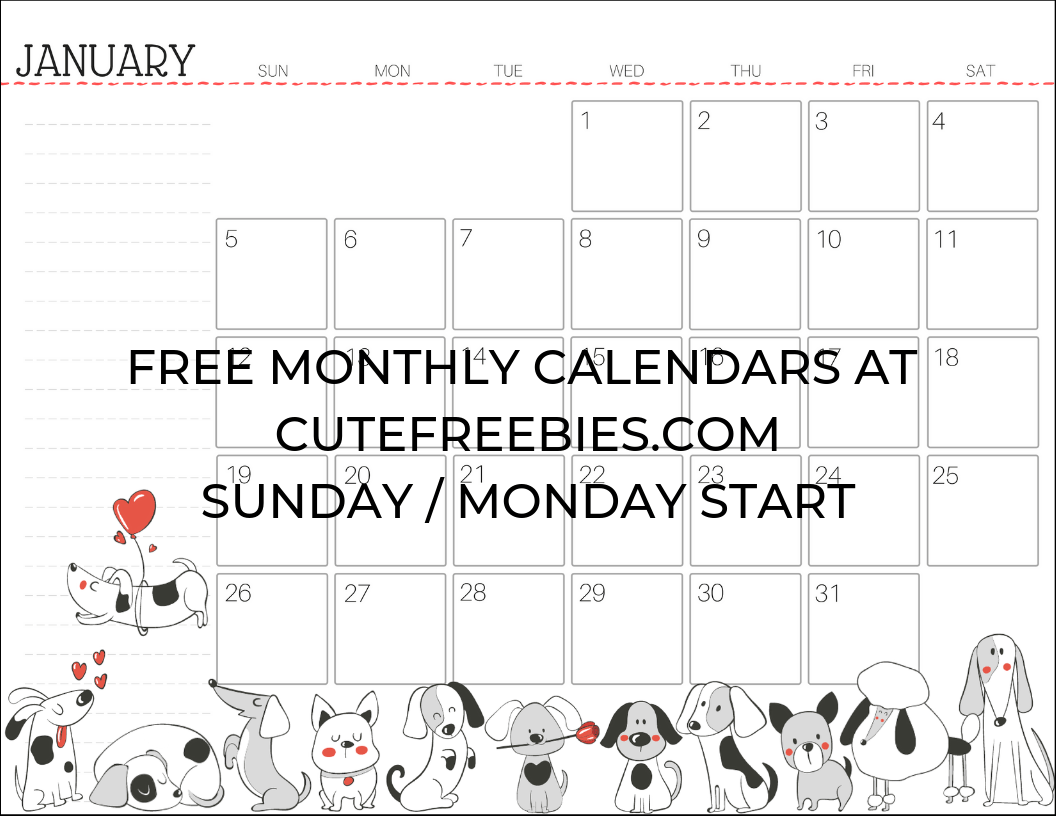 Free Printable 2020 Monthly Calendar.Free Printable 2020 Calendar For A Happy Year Cute Freebies For You