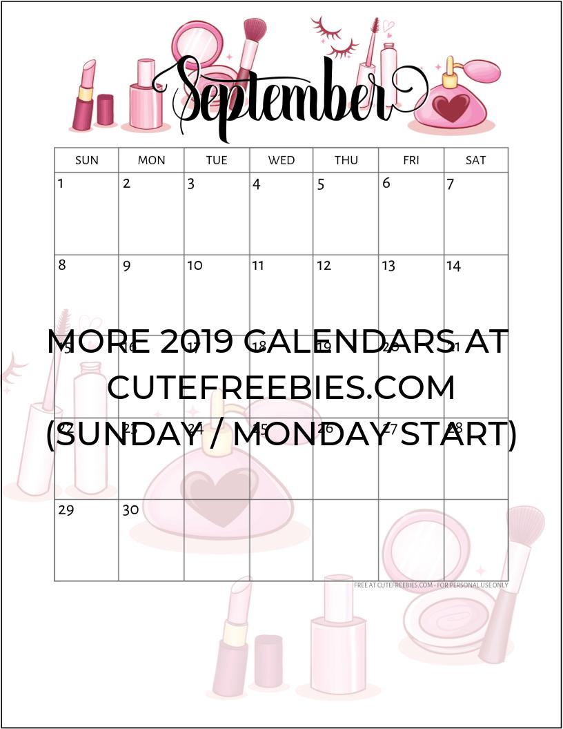 Calendar Planner September 2019.September 2019 Calendar Printable Cfcosmetics Cute Freebies For You