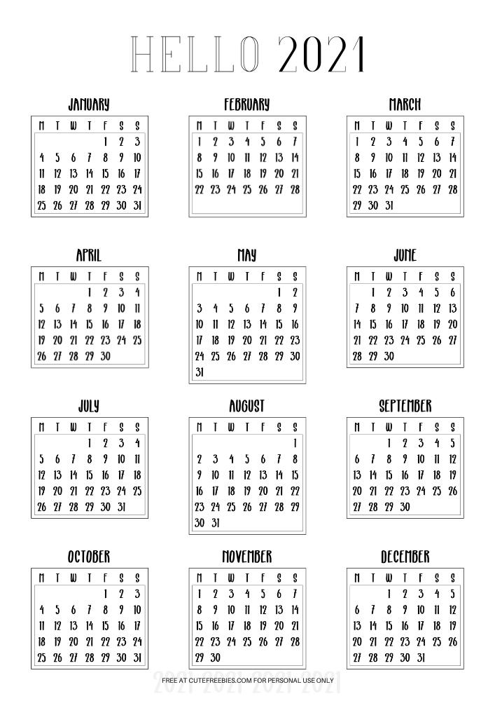 2021-MONDAY-CALENDARS-MINI - Cute Freebies For You