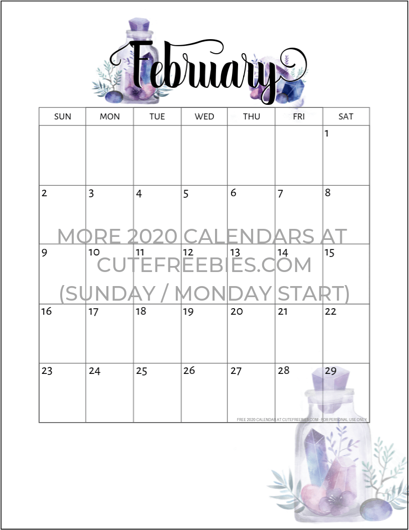 February 2020 Printable Calendar Cute.February 2020 Calendar Free Printable Crystals Cute Freebies For You