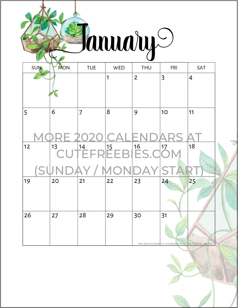 January Calendar 2020 Cute January 2020 calendar printable plants   Cute Freebies For You