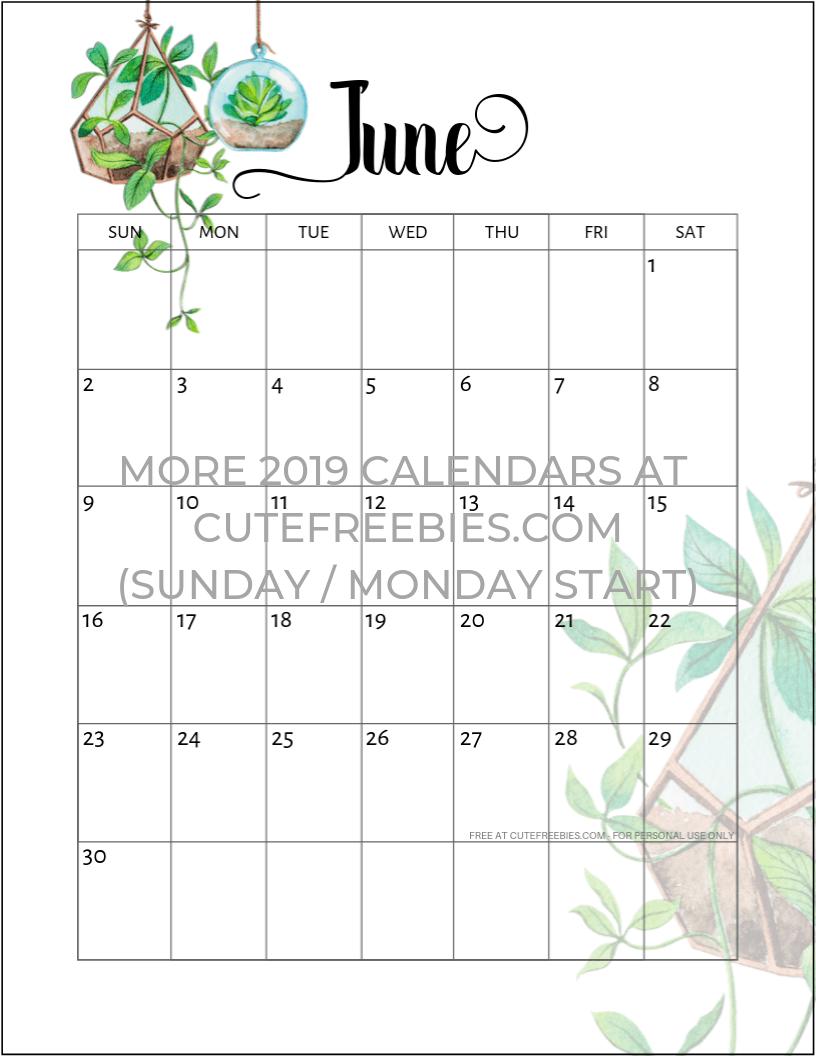 June-2019-calendar-printable-plants - Cute Freebies For You