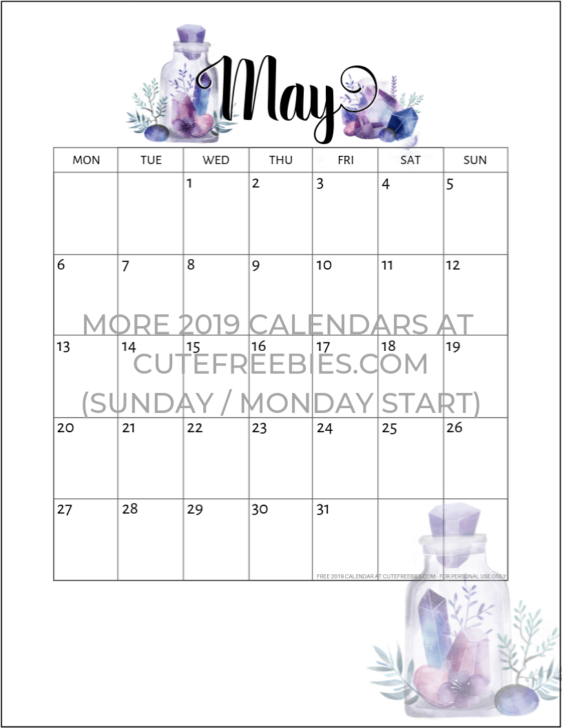 May 2019 Calendar Free Printable Crystals Cute Freebies For You
