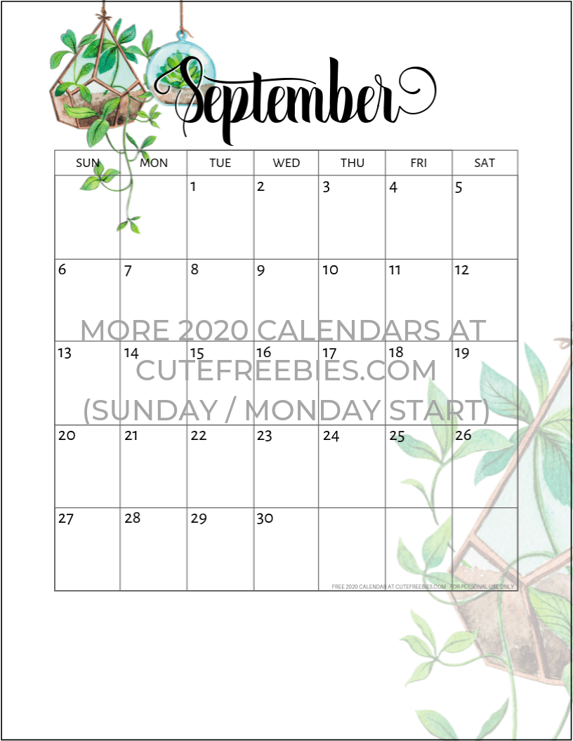 September-2020-calendar-printable-plants - Cute Freebies ...