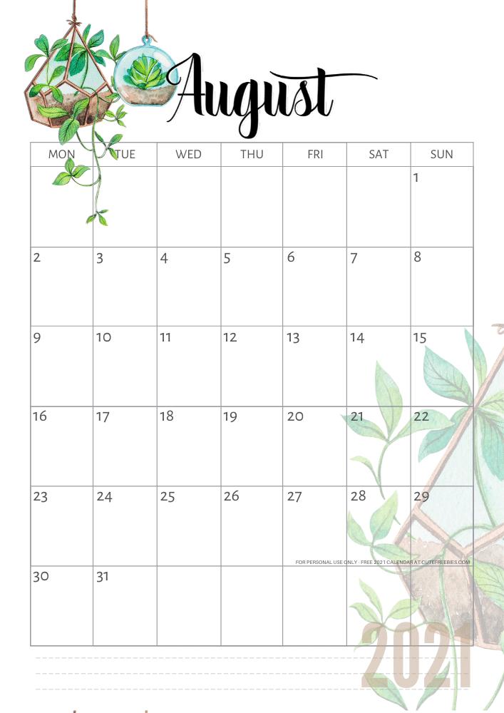 august-2021-calendar-plants - Cute Freebies For You