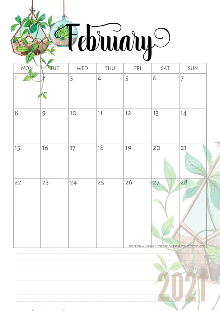 Free Printable February 2021 Calendar Pdf Cute Freebies For You You can personalize the calendar before you print it. free printable february 2021 calendar