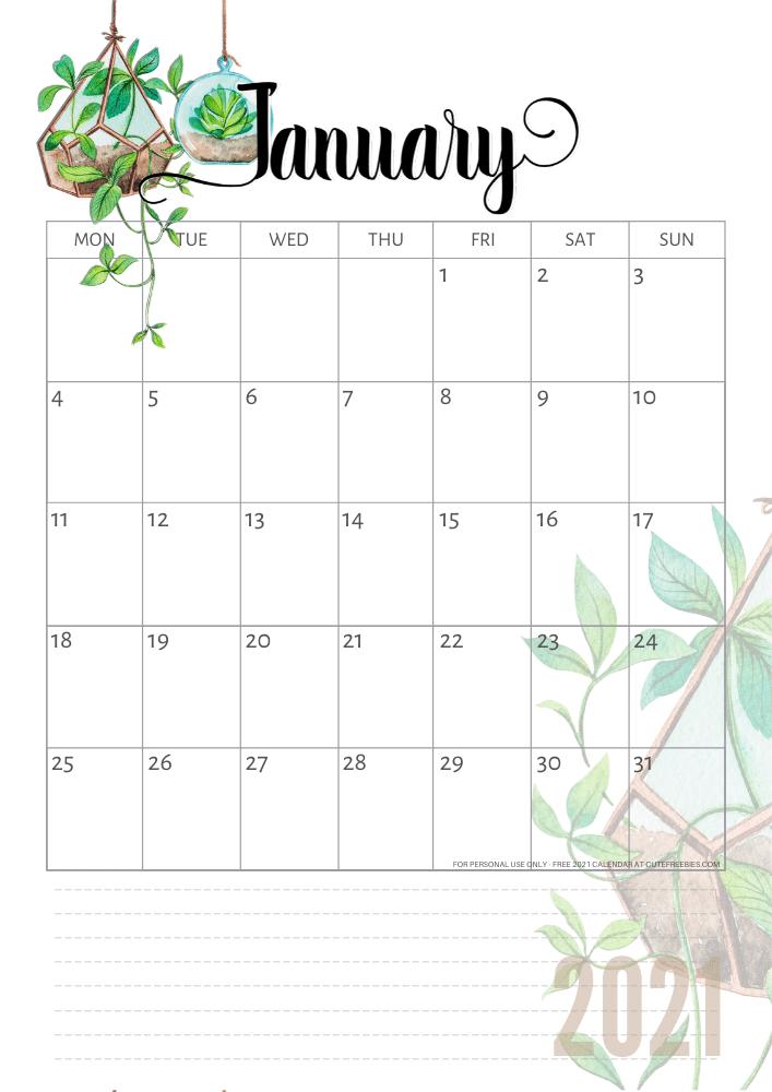 2021 Calendar Free Printable Plants Theme Cute Freebies For You