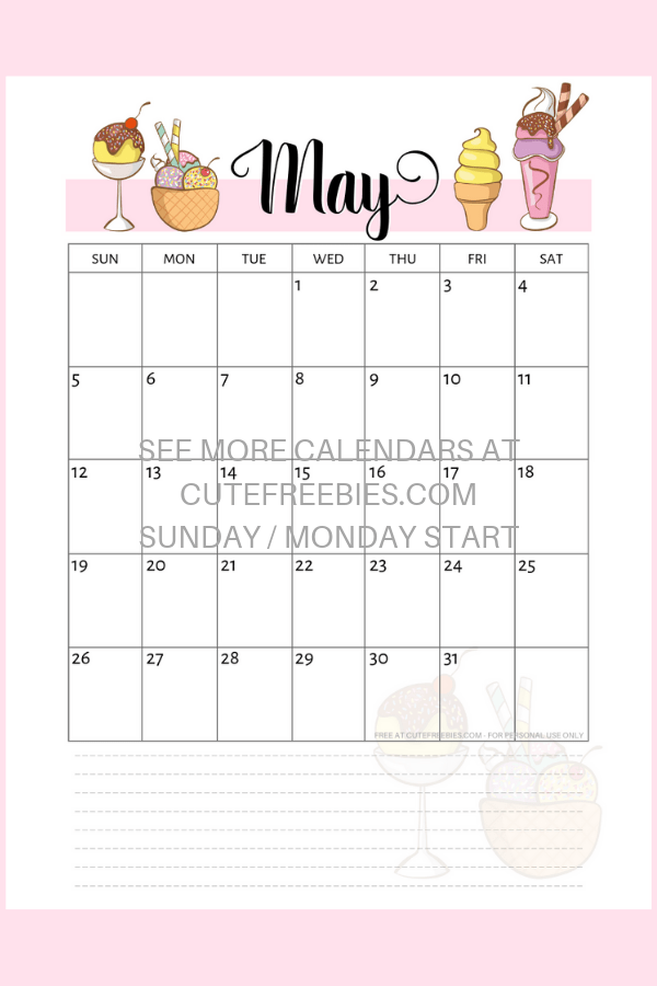 graphic regarding Bullet Journal Monthly Calendar Printable identify Might 2019 Calendar Printable With Bullet Magazine Themes