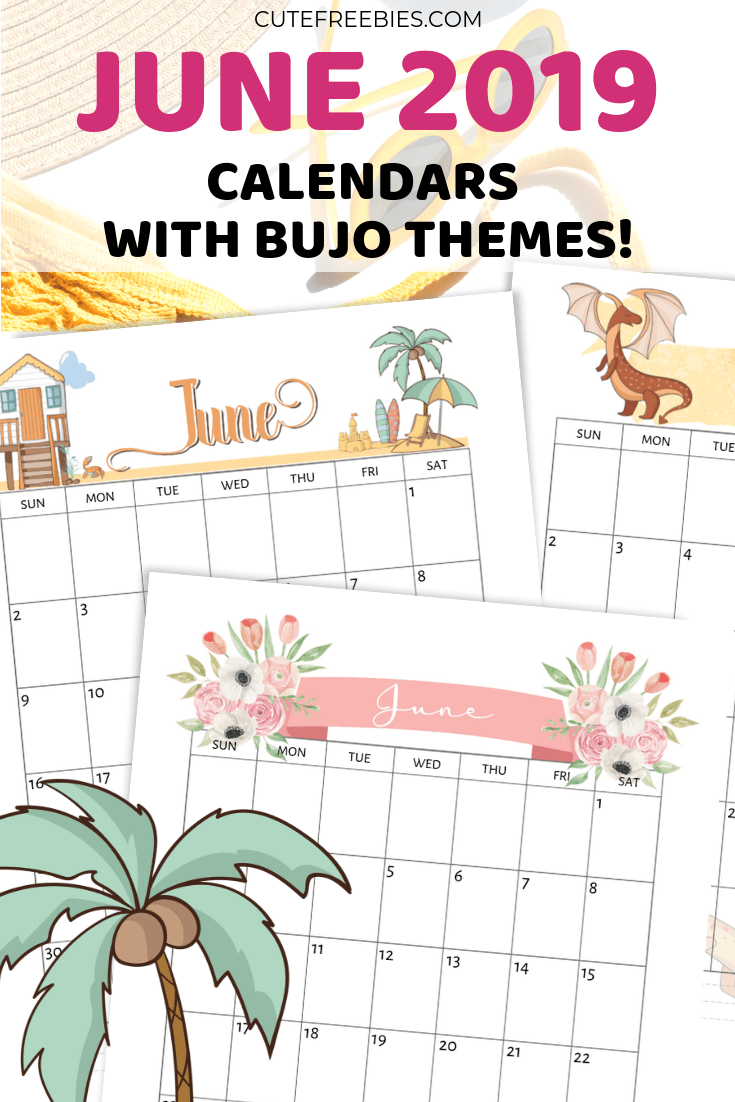 photograph regarding Printable Bullet Journal Paper titled June 2019 Calendar Printable - Bullet Magazine Themes! - Lovely