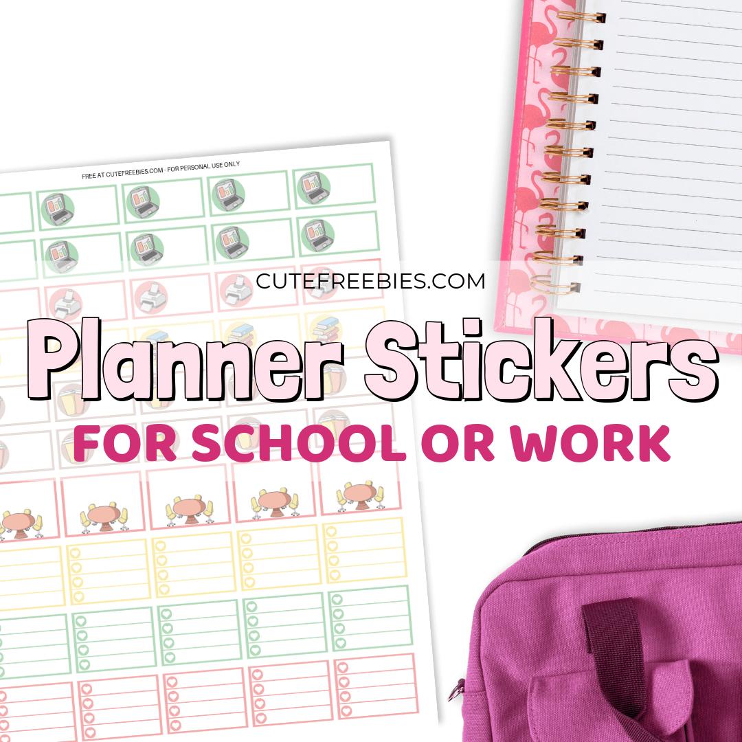 Work School Planner Stickers Free Printable Cute Freebies For You
