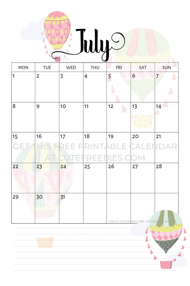 picture relating to Bullet Journal Calendar Printable referred to as July 2019 Calendar No cost Printable With Bujo Themes - Lovely