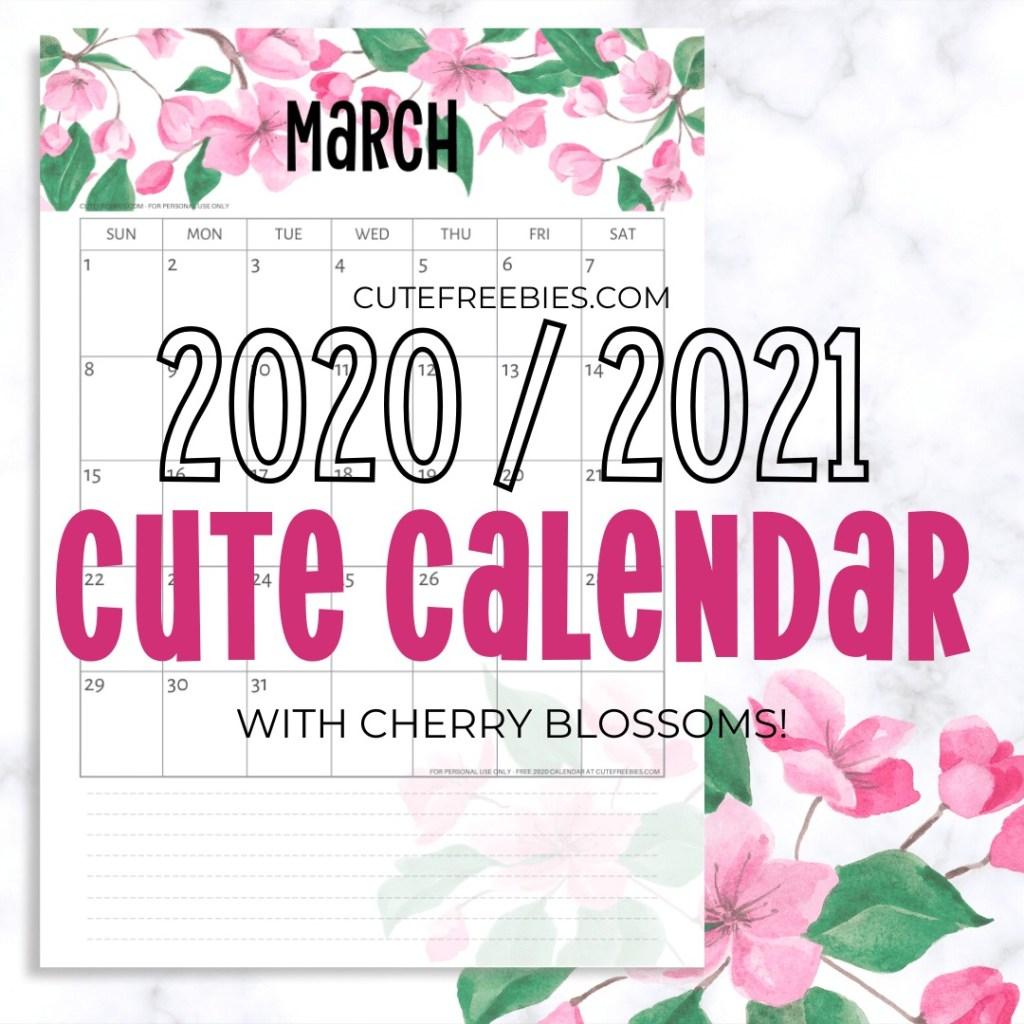 Free Printable 2021 Calendar PDF List - Cute Freebies For You