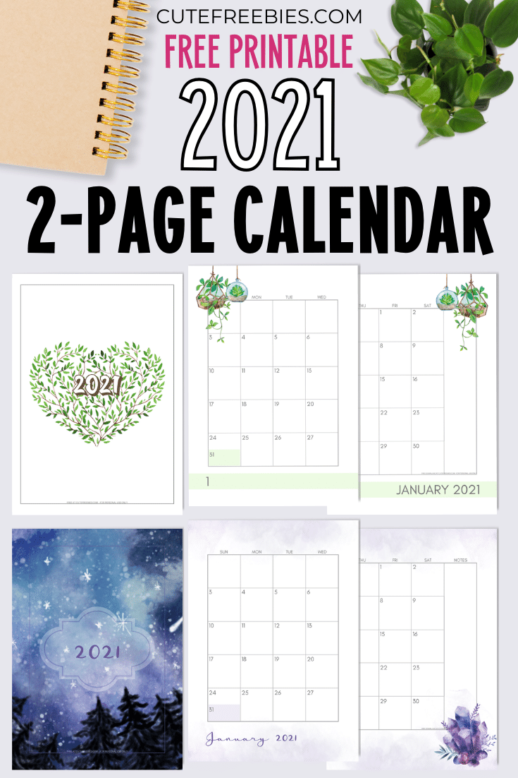 2021-CALENDAR-TWO-PAGES-PRINTABLE-2 - Cute Freebies For You