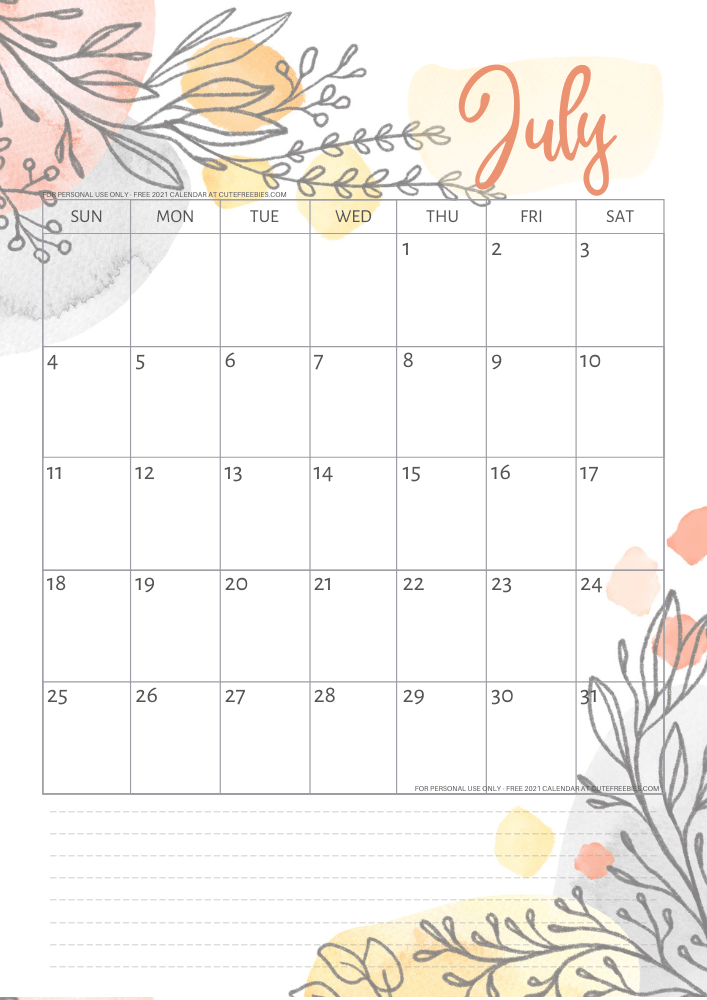 July-2021-calendar-pretty-printable-template - Cute ...