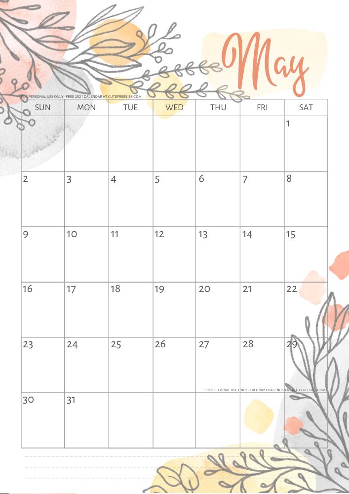 May-2021-calendar-pretty-printable-template - Cute ...