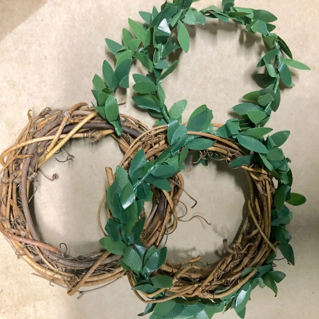 grapevine wreath, faux greenery twine
