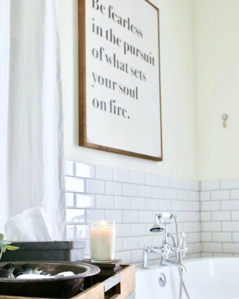 Here is a soy based candle burning in bathroom.