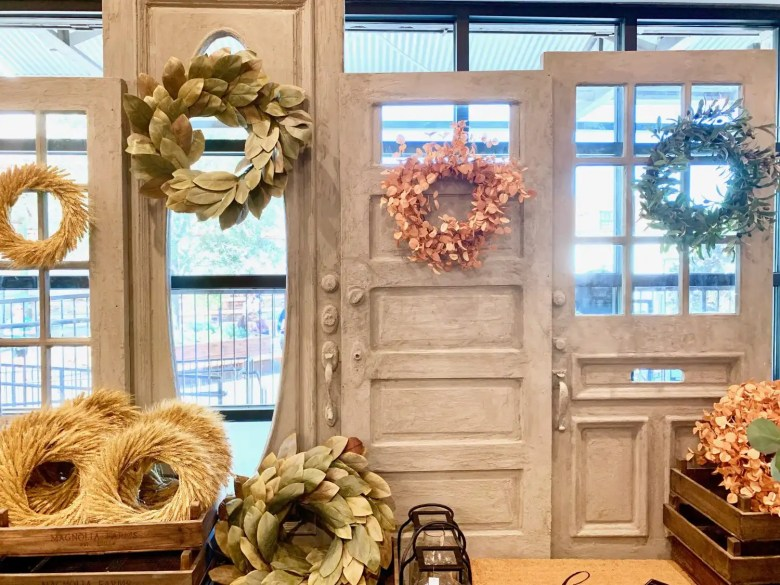 Row of doors handmade for fall visual display