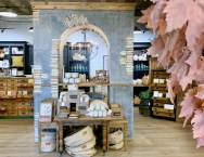 Fall Magnolia Market display made up of 100s of vintage books.