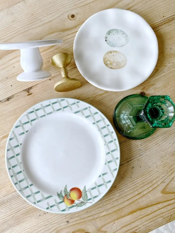 thrift store plates and candlesticks