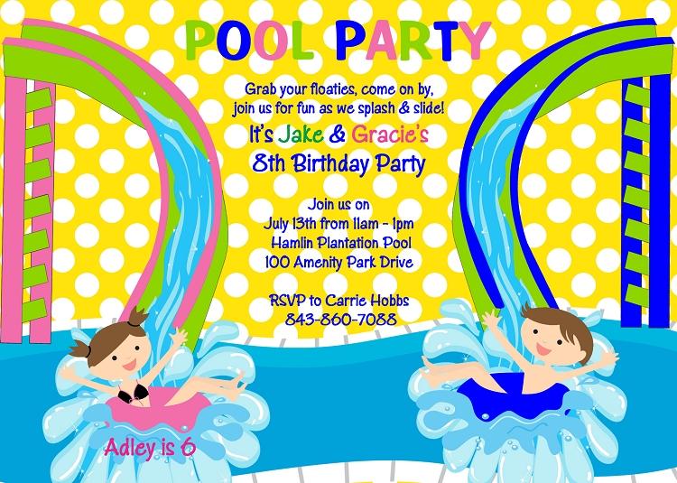 water slide birthday invitation for