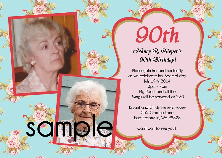 90th birthday invitations use for any age printable or