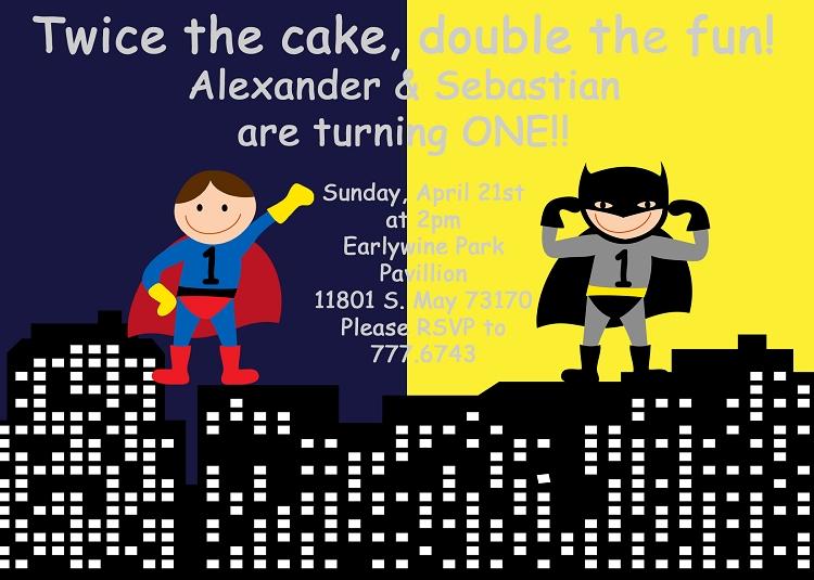 batman and superman superhero birthday