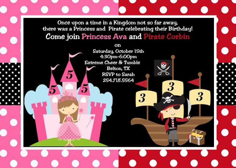 princess pirate birthday invitation