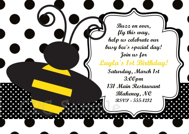 bumble bee polka dot birthday invitations