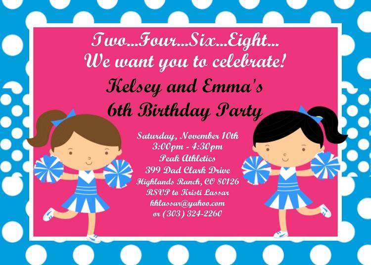 cheerleader birthday invitations for