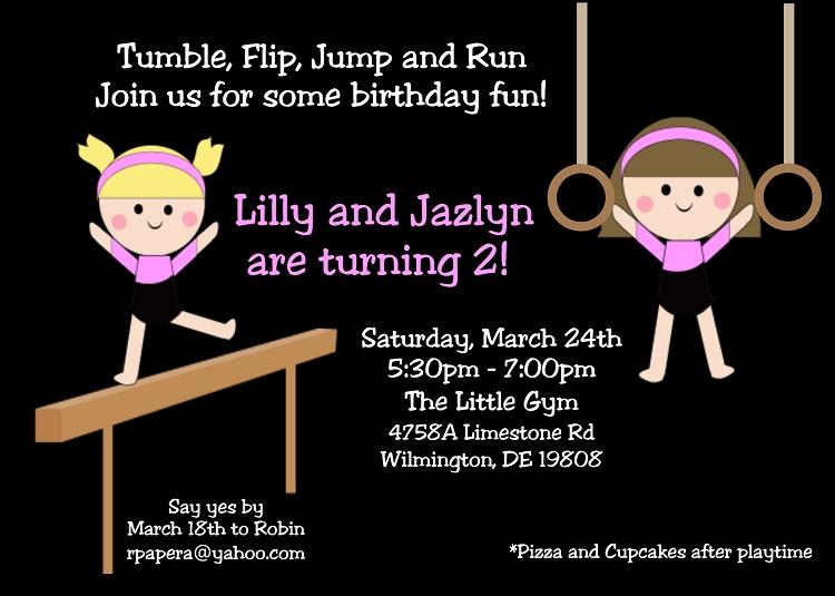 twin girls gymnastics birthday party