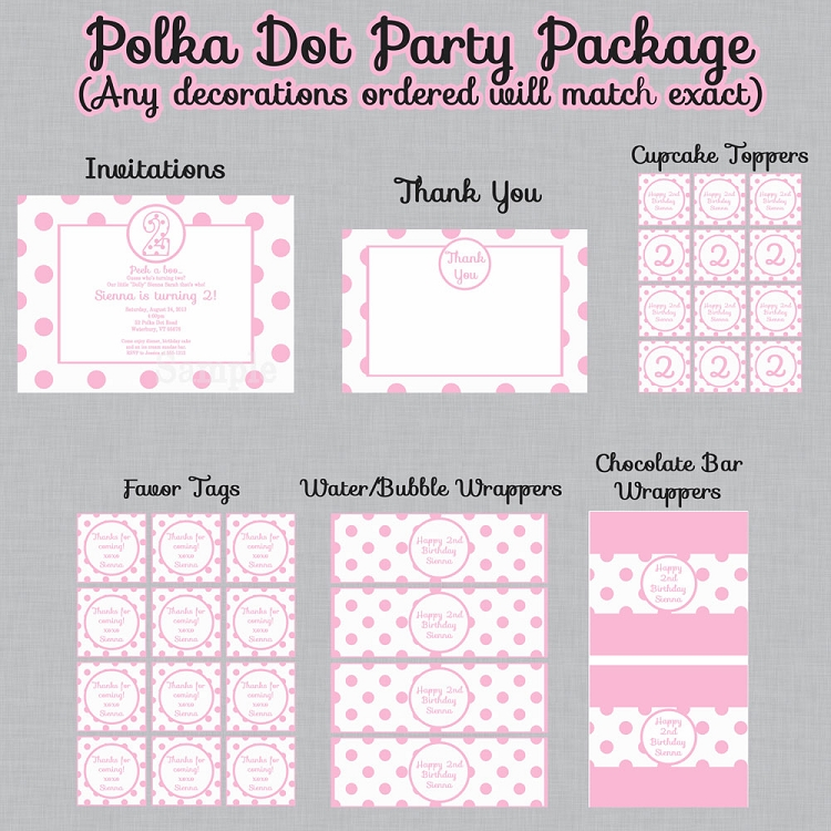 Pink And White Polka Dot Birthday Party Package Invitations Decorations