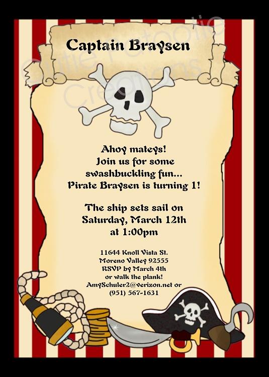 pirates invitations invitations
