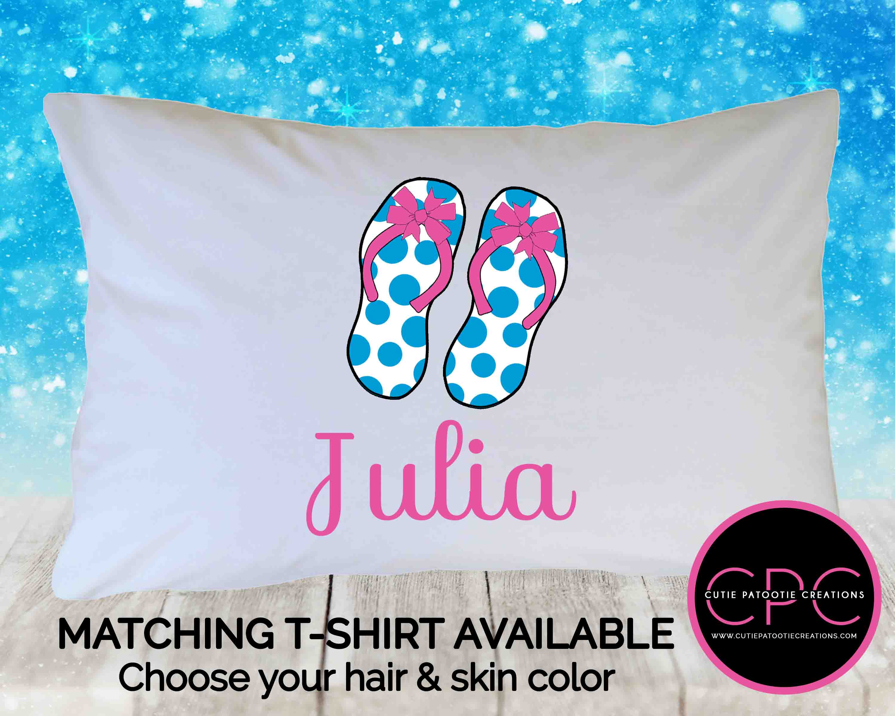 personalized polka dot flip flops pillowcase for kids adults toddlers