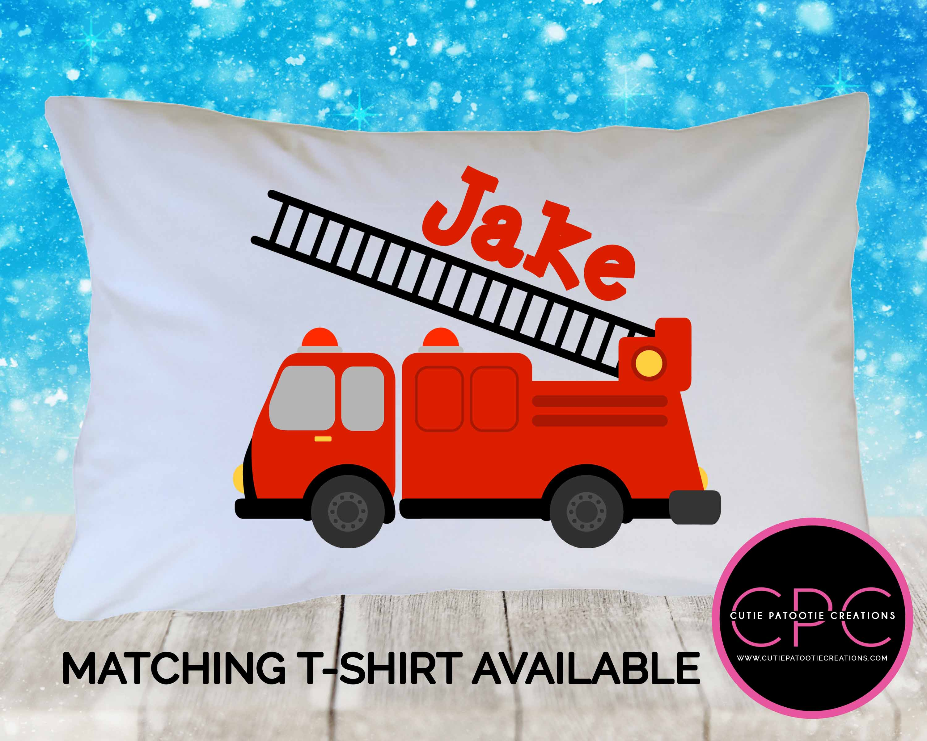 personalized red firetruck pillowcase for toddlers kids teens adults cutie patootie creations