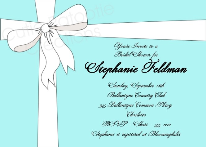 Tiffany Vintage Lace And Bow Invitation Blue White Or Boy