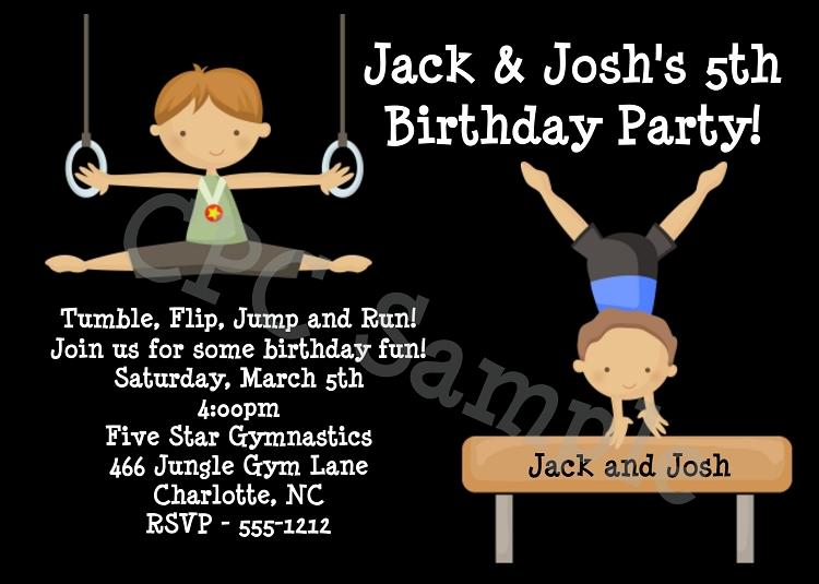 boys gymnastics birthday party invitations