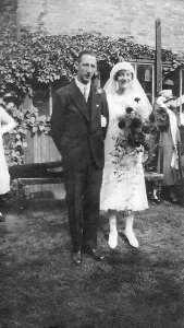 Fred Cullum, Dora Briselden, wedding Sep 1926