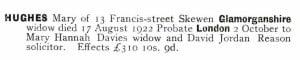 Mary Hughes Probate Calendar 1922